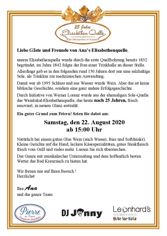 25 Jahre Weinlokal Elisabethenquelle!